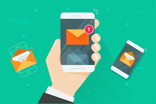 Teléfono inteligente plano de dibujos animados con mensajes de bandeja de entrada leídos y no leídos o notificaciones por correo electrónico, ilustración vectorial