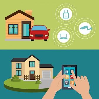 Teléfono inteligente que controla el hogar inteligente