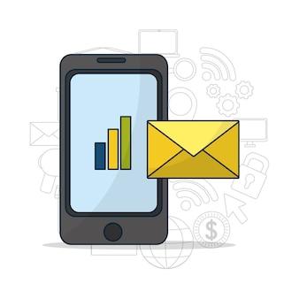 Teléfono inteligente que envía negocios por correo electrónico