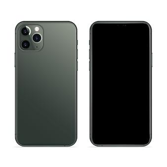 Teléfono inteligente realista en vista frontal y posterior de color verde medianoche