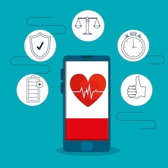 Teléfono inteligente con ritmo cardíaco y ejercicio armonía estilo de vida