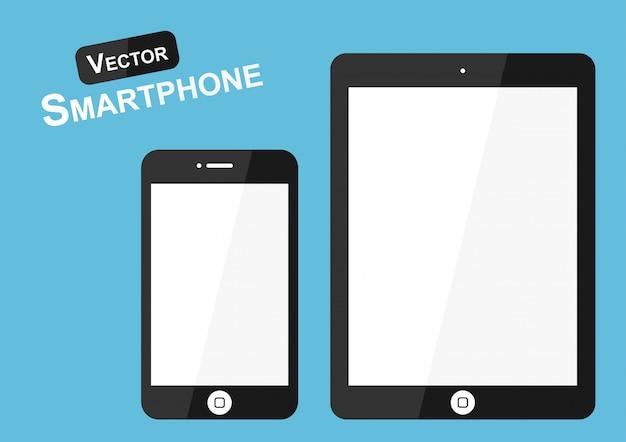 Teléfono inteligente sobre fondo azul