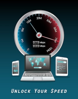 Teléfono inteligente y tableta del ordenador portátil con velocímetro de internet