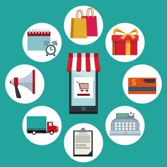 Teléfono inteligente con toldo y elementos de compras en línea