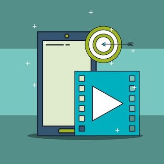Teléfono inteligente video objetivo marketing digital