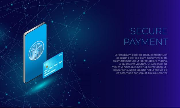 Teléfono isométrico azul con huella digital y tarjeta bancaria como concepto de pagos seguros en línea