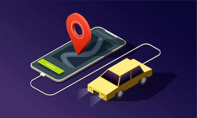 Teléfono isométrico con coche amarillo, pin de ubicación rojo sobre fondo oscuro.