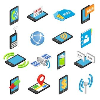 Teléfono isométrico conjunto de iconos 3d