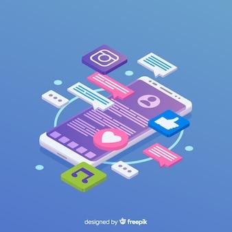 Teléfono isométrico con iconos y concepto de chat