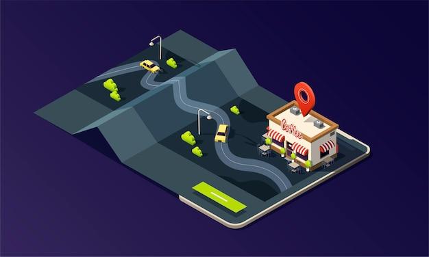 Teléfono isométrico con mapa cafetería y taxi.