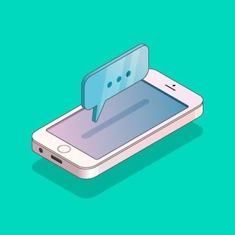 Teléfono isométrico moderno con mensaje