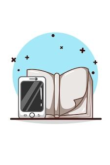 Teléfono de mano con dibujo a mano de ilustración de libro