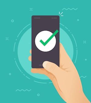 Teléfono con marca de verificación en el símbolo de la pantalla