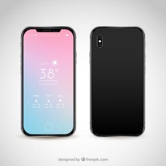 Teléfono moderno con fondo abstracto