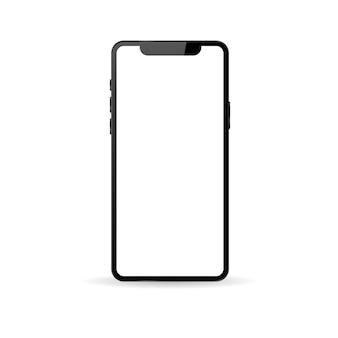 Teléfono moderno realista sobre un fondo blanco.