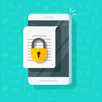 Teléfono móvil con acceso seguro a documentos confidenciales en línea bloqueado