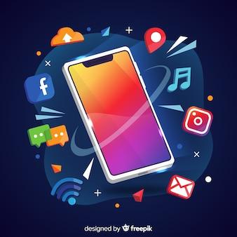 Teléfono móvil antigravedad con elementos