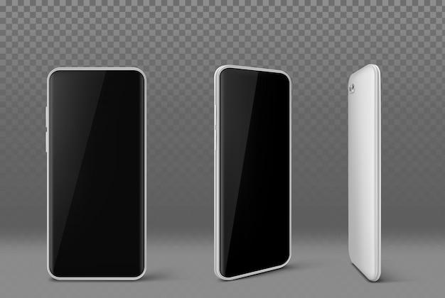 Teléfono móvil blanco con pantalla negra