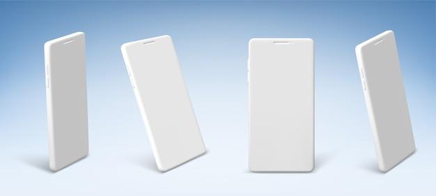 Teléfono móvil blanco en la vista frontal y en perspectiva.