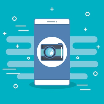 Teléfono móvil cámara aplicación de fotos selfie