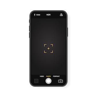 Teléfono móvil con cámara interfase. aplicación de aplicación móvil. pantalla de foto y video. gráfico ilustrativo.