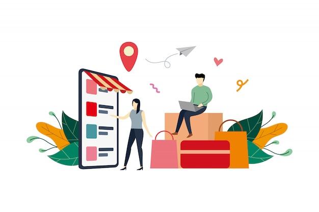 Teléfono móvil de compras en línea, ilustración plana del mercado de comercio electrónico con personas pequeñas