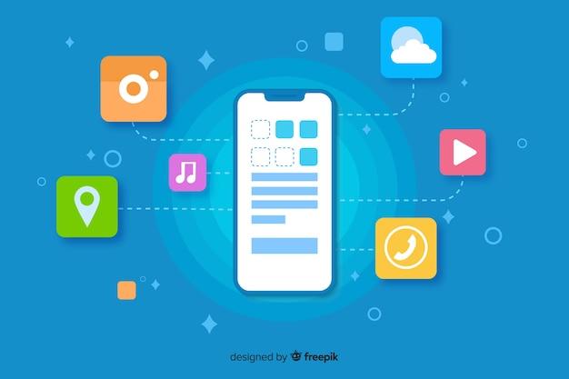 Teléfono móvil de diseño plano con aplicaciones para la página de inicio