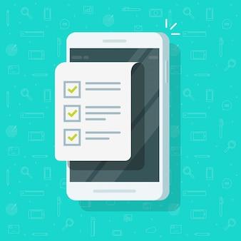 Teléfono móvil con formulario de lista de verificación o pantalla de teléfono inteligente con documento o lista de tareas con ilustración de casillas de verificación, caricatura plana