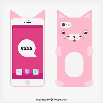 Teléfono móvil con la funda del gato