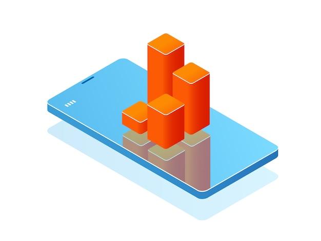 Teléfono móvil con gráfico de barras en pantalla, aplicación de análisis, banner con teléfono inteligente