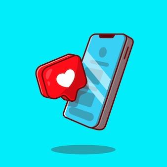 Teléfono móvil con ilustración de icono de dibujos animados de signo de amor.