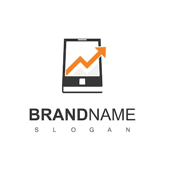 Teléfono móvil con inspiración para el diseño de logotipos financieros de marketing estadístico