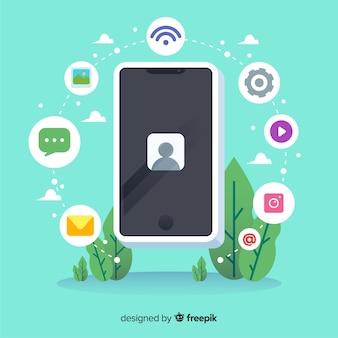 Teléfono móvil isométrico antigravedad con iconos