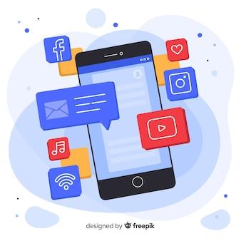 Teléfono móvil isométrico antigravedad con mensajes y notificaciones.