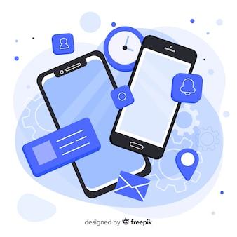 Teléfono móvil isométrico con aplicaciones y servicios.