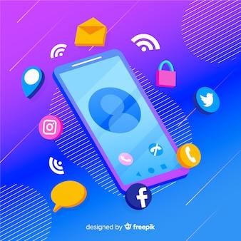 Teléfono móvil isométrico con iconos de aplicaciones