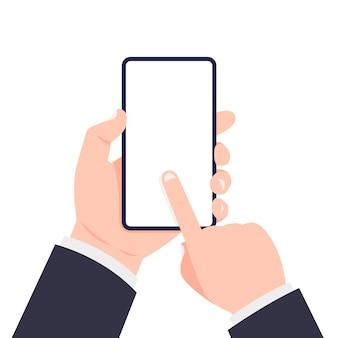 Teléfono móvil en mano. mano que sostiene el teléfono inteligente y la pantalla táctil.