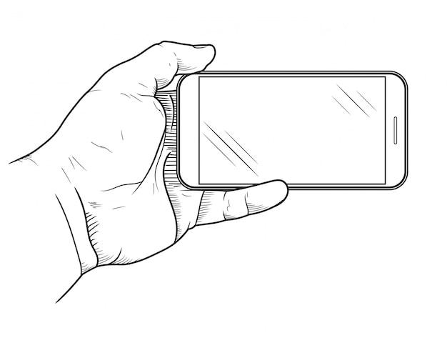 Teléfono móvil en la mano vista frontal. bosquejo de la mano que sostiene el teléfono inteligente vacío.