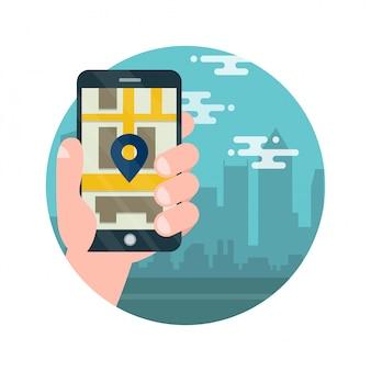 Teléfono móvil con mapa y gran ciudad en el fondo