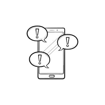Teléfono móvil y mensaje de texto con signo de exclamación icono de doodle de contorno dibujado a mano. concepto de redes sociales