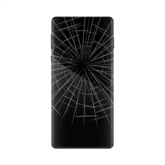 Teléfono móvil con pantalla agrietada