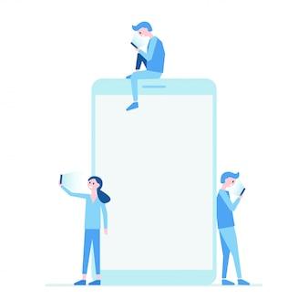 Teléfono móvil y personas establecen ilustración plana