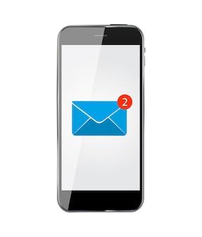 Teléfono móvil realista con correo electrónico.
