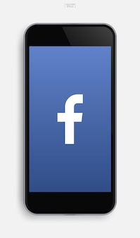 Teléfono móvil realista con imagen de aplicación en el fondo de la pantalla. ilustración vectorial.