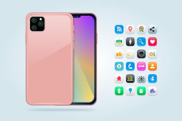 Teléfono móvil realista con juegos y aplicaciones.
