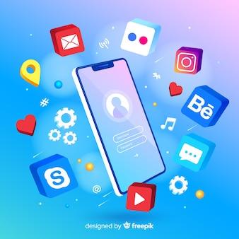 Teléfono móvil rodeado de coloridos íconos de aplicaciones