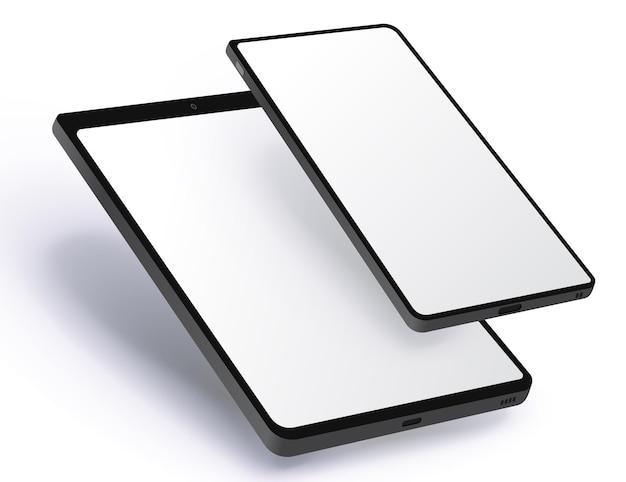 Teléfono móvil y tableta realista con vista en perspectiva