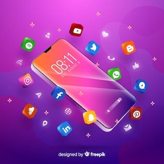Teléfono móvil con tema púrpura rodeado de aplicaciones coloridas