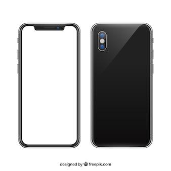 Teléfono con pantalla blanca en estilo realista