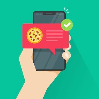 Teléfono con pizza en la ilustración de dibujos animados plana de pantalla de teléfono móvil